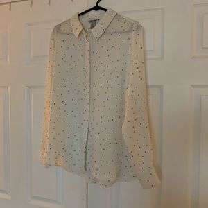 White button up blouse with small hearts H&M